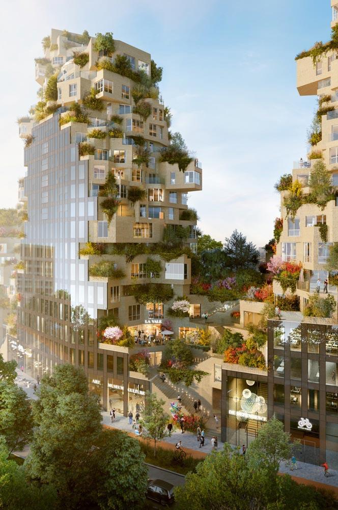 MVRDV's High Rise Ravel Plaza Complex Features Green Galore In Amsterdam